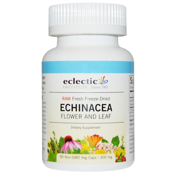 Eclectic Institute, Raw, Echinacea, Flower and Leaf, 300 mg, 90 Non-GMO Veggie Caps (Discontinued Item)