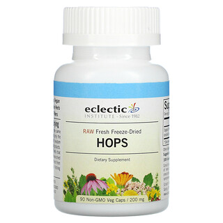Eclectic Institute, Raw Fresh Freeze-Dried, Hops, 200 mg, 90 Non-GMO Veg Caps