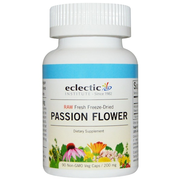 Eclectic Institute, Passion Flower, Raw, 200 mg, 90 Non-GMO Veggie Caps (Discontinued Item)