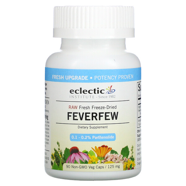 Eclectic Institute, Raw Fresh Freeze-Dried, Feverfew, 125 mg, 90 Non-GMO Veg Capsules