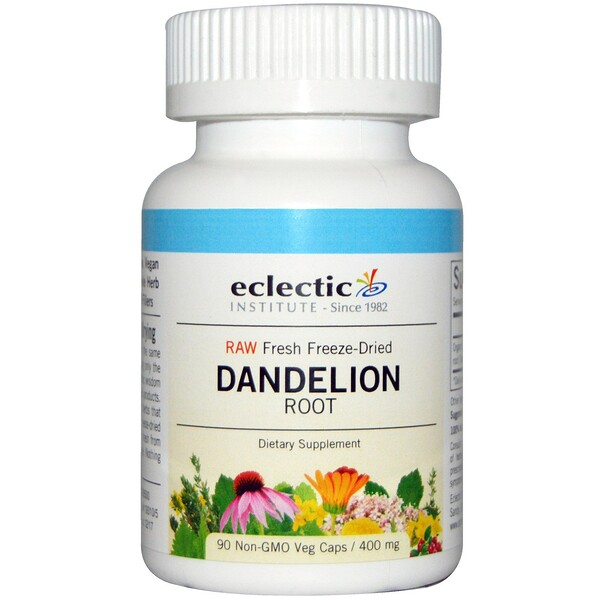 Eclectic Institute, Dandelion Root, Raw, 400 mg, 90 Non-GMO Veg Caps