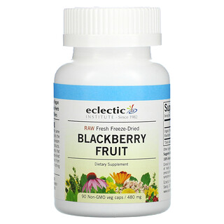 Eclectic Institute, Raw Fresh Freeze-Dried, Blackberry Fruit, 480 mg, 90 Non-GMO Veg Caps