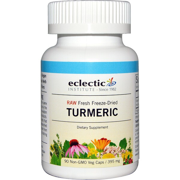 Eclectic Institute, Raw Fresh Freeze-Dried, Turmeric, 395 mg, 90 Non-GMO Veg Caps