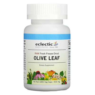 Eclectic Institute Raw Fresh Freeze-Dried, Olive Leaf, 400 mg, 90 Non-GMO Veg Caps