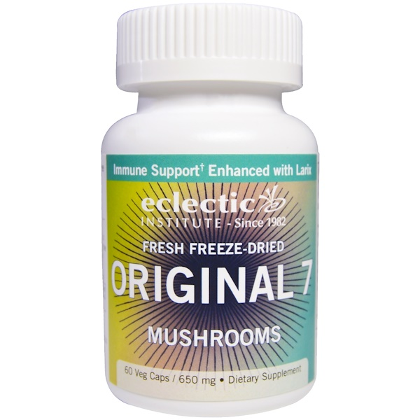 Eclectic Institute, Original 7 Mushrooms, Fresh Freeze-Dried, 650 mg, 60 Veggie Caps (Discontinued Item)