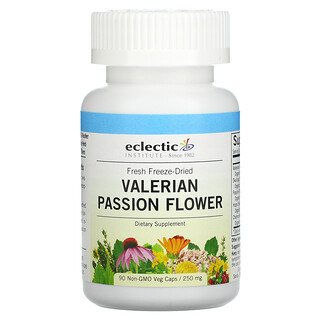 Eclectic Institute, Fresh Freeze-Dried, Valerian Passion Flower, 250 mg, 90 Non-GMO Veg Caps