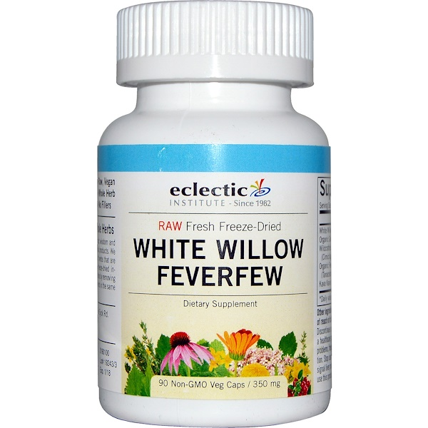Eclectic Institute, White Willow Feverfew, 350 mg, 90 Non-GMO Veggie Caps (Discontinued Item)