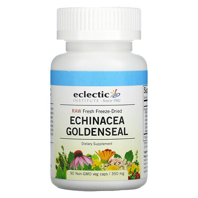 Eclectic Institute Raw Fresh Freeze-Dried, Echinacea Goldenseal, 350 mg, 90 Non-GMO Veg Caps