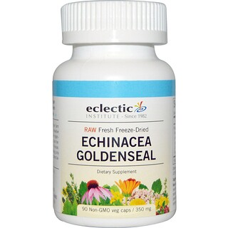 Eclectic Institute, Raw, Echinacea Goldenseal, 350 mg, 90 Non-GMO Veggie Caps