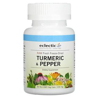 Eclectic Institute, Raw Fresh Freeze-Dried, Turmeric & Pepper, 430 mg, 90 Non-GMO Veg Caps