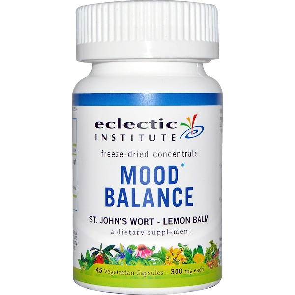 Eclectic Institute, Mood Balance, St. John's Wort - Lemon Balm, 300 mg, 45 Veggie Caps (Discontinued Item)