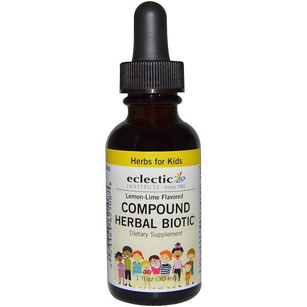 Eclectic Institute, Herbs For Kids, Compound Herbal Biotic, Lemon-Lime Flavored, 1 fl oz (30 ml) (Discontinued Item)