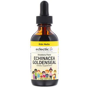 Eclectic Institute, Kids Herbs, Echinacea Goldenseal, Strawberry Flavor, 2 fl oz (60 ml)