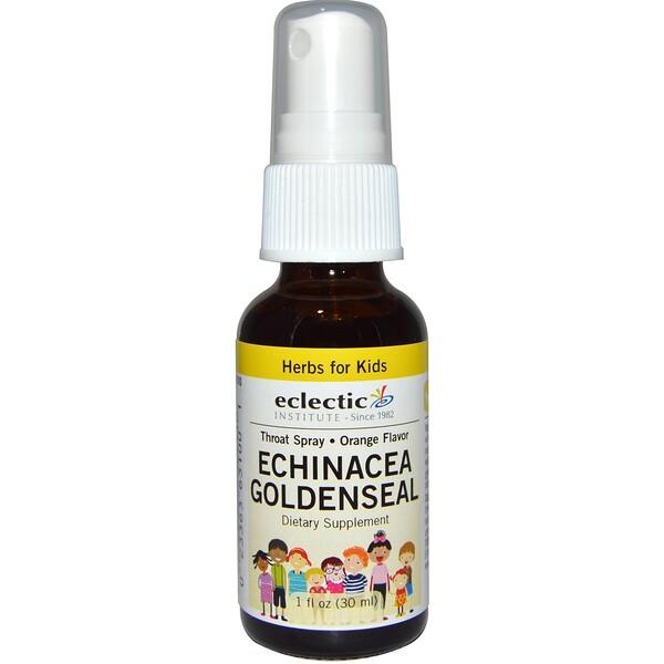 Eclectic Institute, Herbs For Kids, Echinacea Goldenseal, Orange Flavor, 1 fl oz (30 ml) (Discontinued Item)