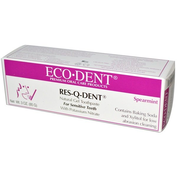 Eco-Dent, Res-Q-Dent, Natural Gel Toothpaste, For Sensitive Teeth, Spearmint, 3 oz (85 g) (Discontinued Item)
