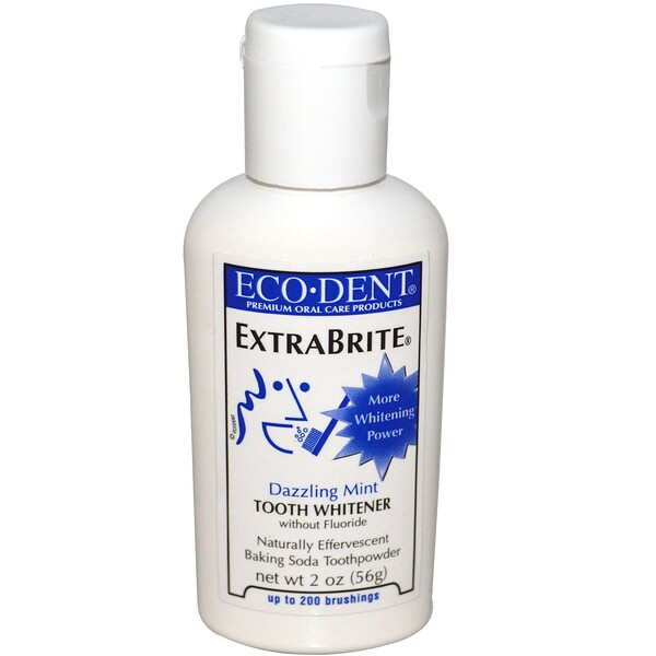 エコデント, ExtraBrite, Tooth Whitener, without Fluoride, Dazzling Mint, 2 oz (56 g)