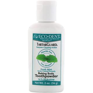 Eco-Dent, TartarGuard, Baking Soda Toothpowder, Fresh Mint, Fluoride Free, 2 oz (56 g)