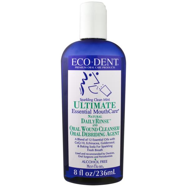 Eco-Dent, Ultimate Essential MouthCare, Natural Daily Rinse & Oral Cleanser, Alcohol Free, Sparkling Clean Mint, 8 fl oz (236 ml)