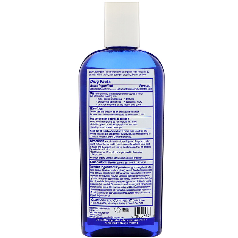 Eco-Dent, Ultimate Essential MouthCare, Daily Rinse & Oral Wound Cleanser, Sparkling Clean Mint, 8 fl oz (237 ml) - photo 1