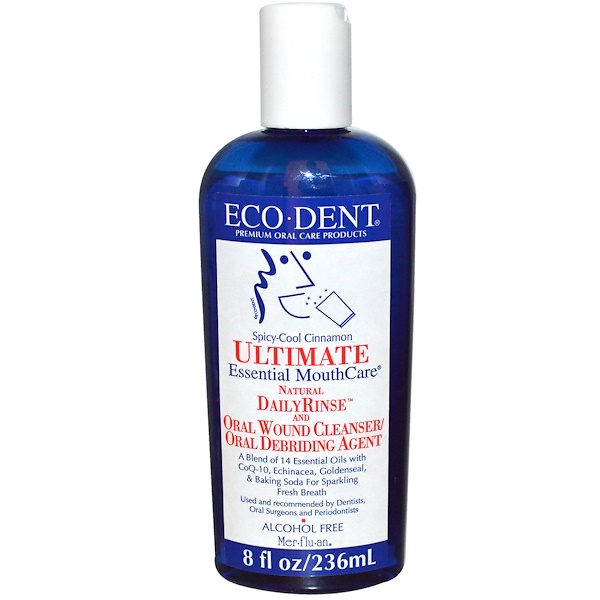 Eco-Dent, Ultimate Essential MouthCare, Natural Daily Rinse & Oral Cleanser, Alcohol Free, Spicy-Cool Cinnamon, 8 fl oz (236 ml)