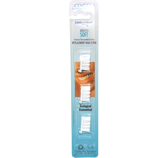 Eco-Dent, TerrAdent med5, Adult 31, Soft, Replacement Head 3-Pak (Discontinued Item)
