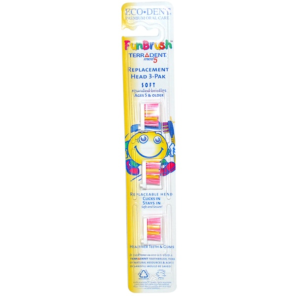Eco-Dent, FunBrush, Terradent med5, Soft, Rounded Bristles, Replacement Head 3-Pak (Discontinued Item)