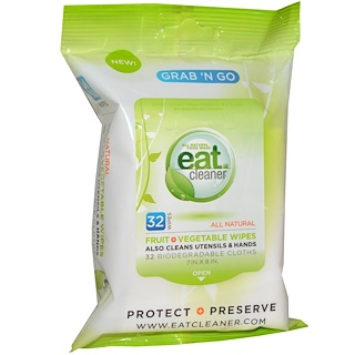 Eat Cleaner, Grab 'N Go toallas frutas + vegetales, 32 toallas, 7 in X 8 in (17 x 20 cm) cada una