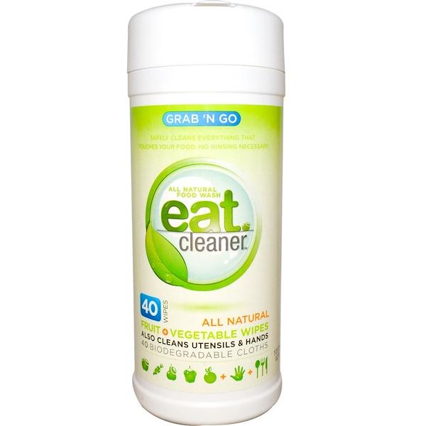 Eat Cleaner, Grab 'N Go, Eat Cleaner, влажные салфетки для овощей и фруктов 40 салфеток (Discontinued Item)