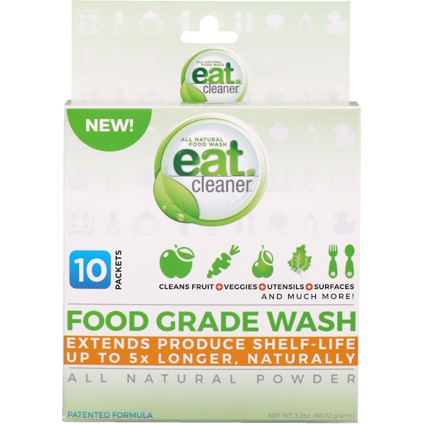 Eat Cleaner, Food Grade Wash, All Natural Powder, 10 Packets, 3.2 oz (90.72 g)