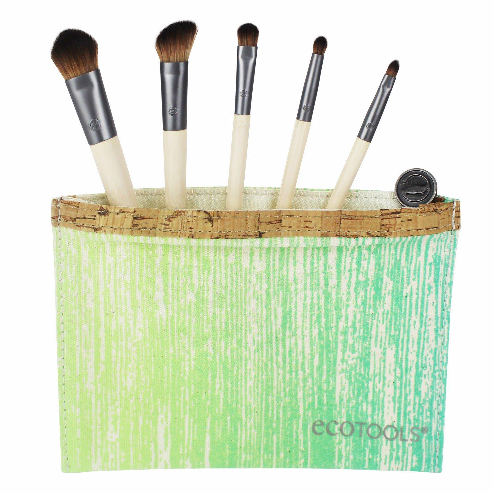 ecotools eye brushes. ecotools, six piece essential eye set, 5 brushes, 1 travel bag ecotools brushes