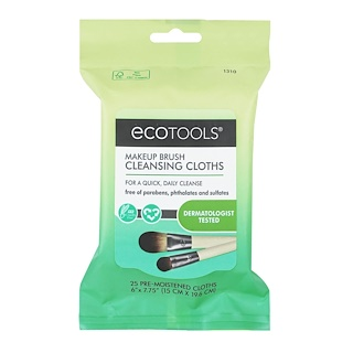 EcoTools, Makeup Brush Cleansing Cloths, 25 Pre-Moistened Cloths