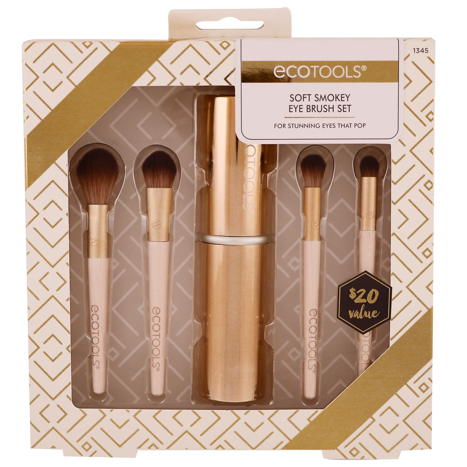 Ecotools Gold Collection Soft Smokey Eye Brush Set 4 Brushes 1 Case