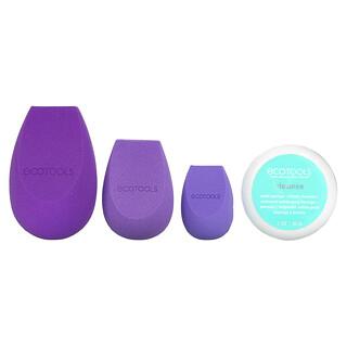 EcoTools, Brighter Tomorrow, BioBlender Kit, 3 Sponges + Brush Cleanser, 4 Piece Kit