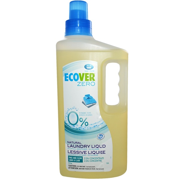 Ecover, Zero, Natural Laundry Liquid, Free and Clear, 51 fl oz (1.5 L) (Discontinued Item)