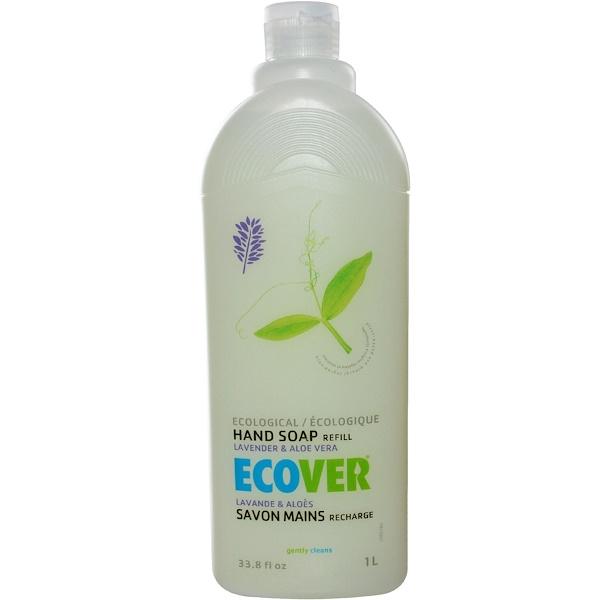 Ecover, Экологическое мыло для рук, запасной блок, лаванда и алоэ вера, 33.8 жидких унций (1 л) (Discontinued Item)