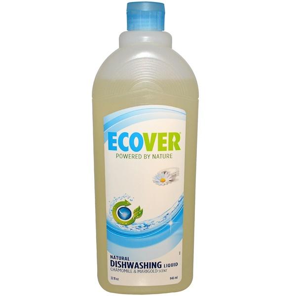 Ecover, 天然の食器洗い用リキッド洗剤、カモミール&マリーゴールドの香り、32 fl oz (946 ml) (Discontinued Item)