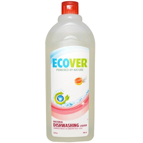 Ecover, Натуральная жидкость для мытья посуды, с запахом грейпфрута и зеленого чая, 32 жидких унций (946 мл) (Discontinued Item)
