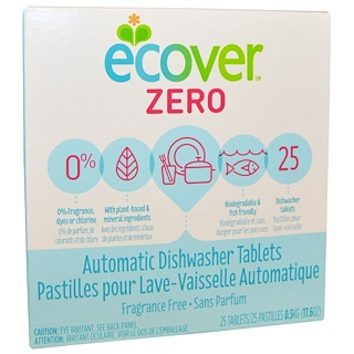 Ecover, Zero, Automatic Dishwasher Tablets, Fragrance Free, 25 Tablets, 17.6 oz (0.5 kg)
