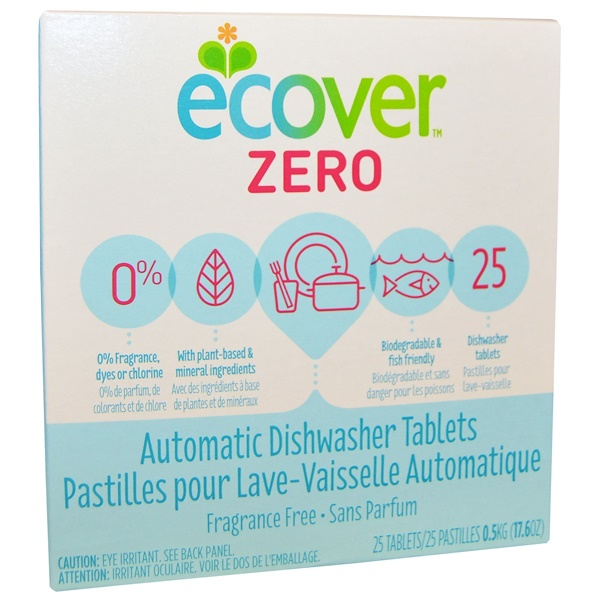 Ecover, Zero, Automatic Dishwasher Tablets, Fragrance Free, 25 Tablets, 17.6 oz (0.5 kg) (Discontinued Item)