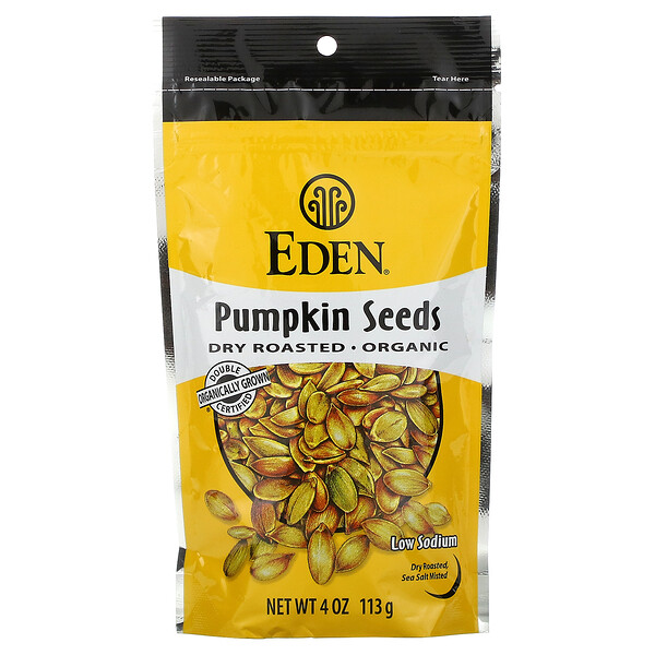 Organic, Pumpkin Seeds, Dry Roasted, 4 oz (113 g)