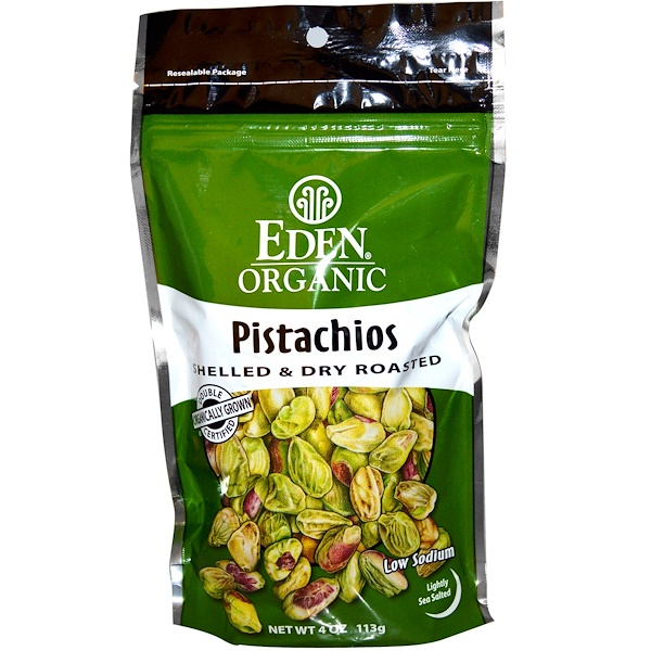 Eden Foods, Organic, Pistachios, Shelled & Dry Roasted, Lightly Sea Salted, 4 oz (113 g)