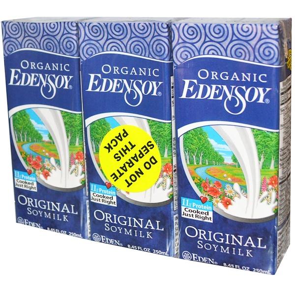 Eden Foods, Organic EdenSoy, Original Soymilk, 3 Pack, 8.45 fl oz (250 ml) Each (Discontinued Item)
