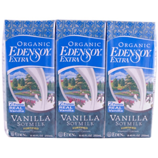 Eden Foods, Organic EdenSoy Extra, Vanilla Soymilk, 3 Pack, 8.45 fl oz (250 ml) Each (Discontinued Item)