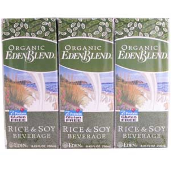 Eden Foods, Organic EdenBlend, Rice & Soy Beverage, 3 Pack, 8.45 fl oz (250 ml) Each (Discontinued Item)