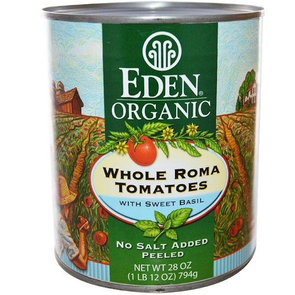 Eden Foods, Organic Whole Roma Tomatoes with Sweet Basil, 28 oz (794 g) (Discontinued Item)
