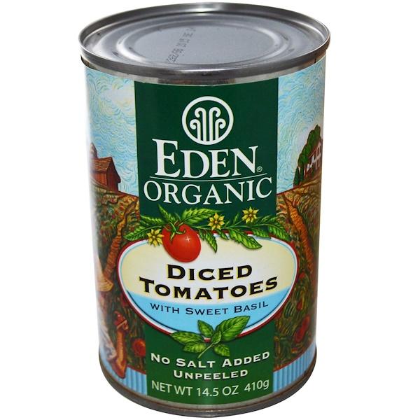 Eden Foods, Органические, Нарезанные кубиками помидоры, с сладким базиликом 14.5 унции (410 г) (Discontinued Item)