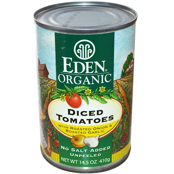 Eden Foods, Organic, Diced Tomatoes, with Roasted Onion & Roasted Garlic, 14.5 oz (410 g) (Discontinued Item)