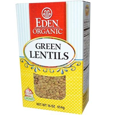 Купить Organic, зеленая чечевица, 16 унций (454 г)