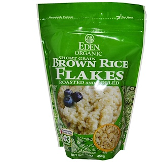 Eden Foods, オーガニック, 短粒玄米 フレーク状, ロースト・ロール加工済み, 16 オンス (454 g)