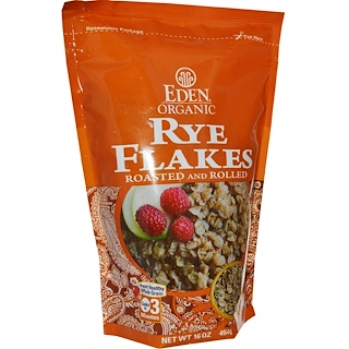 Eden Foods, Organic, Rye Flakes, Roasted and Rolled, 16 oz (454 g)